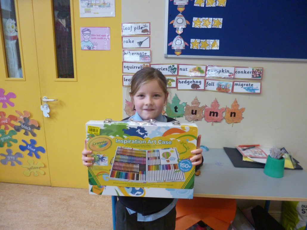 Anya with her prize